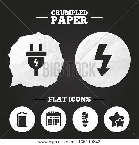Crumpled paper speech bubble. Electric plug icon. Fluorescent lamp and battery symbols. Low electricity and idea signs. Paper button. Vector