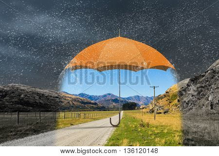Color umbrella in sky . Mixed media