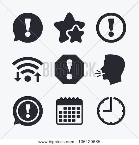 Attention icons. Exclamation speech bubble symbols. Caution signs. Wifi internet, favorite stars, calendar and clock. Talking head. Vector