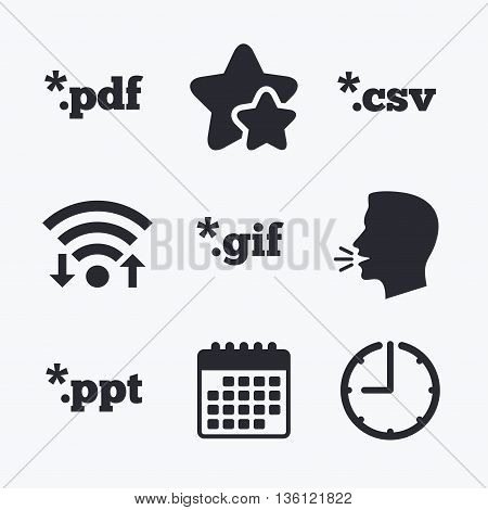 Document icons. File extensions symbols. PDF, GIF, CSV and PPT presentation signs. Wifi internet, favorite stars, calendar and clock. Talking head. Vector