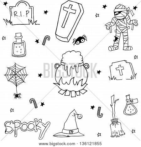 Halloween doodle set flat black and white illustration