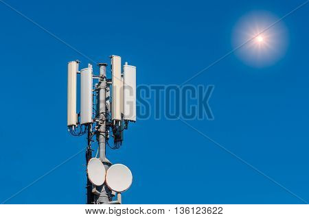 Cellular Antenna On Blue Sky