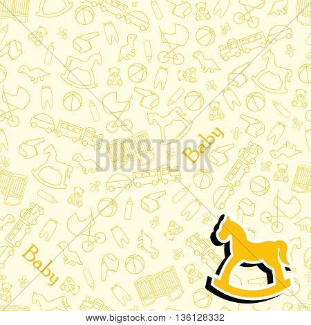 Baby background for baby. Yellow background for baby with toys and facilities for the newborn.