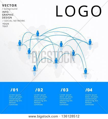 SOCIAL NETWORK , VECTOR INFOGRAPHIC