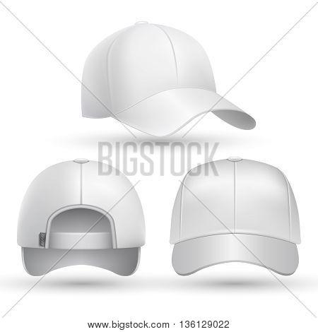 Realistic baseball cap front, side, back views set. Fashion cap baseball for sport, mockup of white cap. Stock vector illustration