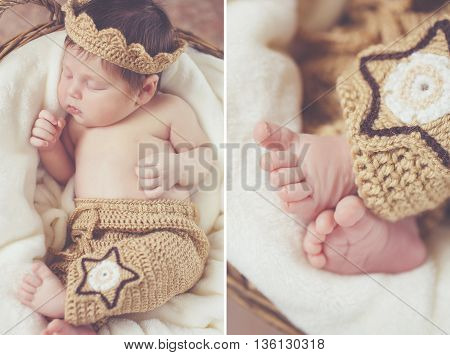 A collage of two photos of a cute newborn girl who sleeps in a wicker round basket, knitted wears on her head a crown of brown, pink legs peeking out from under a brown knitted skirt with a star