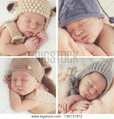 A collage of four photos-Sleeping newborn baby in a knitted hat:toddler on white blanket in beige knitted rompers and knitted cap,baby pink soft blanket in a gray cap with a bubo and a gray cap with a toy rabbit