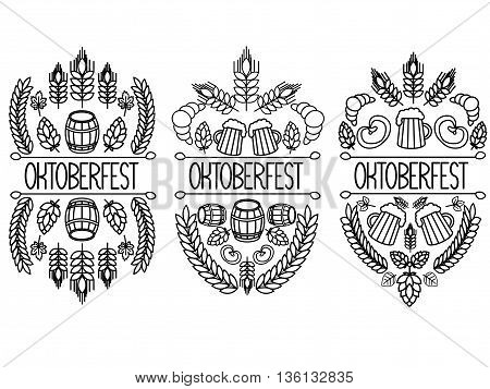 Oktoberfest. 3 picture on a white background. Hand drawn label elements. Oktoberfest traditional food and attributes on craft