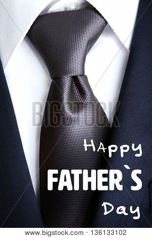 Happy father's day concept. Male jacket with shirt and tie close up