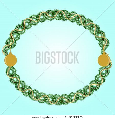oval frame with fir branches and gold garland and balls on a light turquoise background