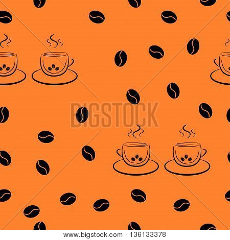 Seamless pattern in random order from a pair of cups of coffee and coffee beans. For packaging beer, bread and flour products in your cafe, bar, pub, tavern, brewery, restaurant.