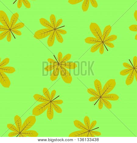 seamless texture chestnut leaf on a bright green background. Perfect for wallpapers, wrapping papers, pattern fills, textile, autumn greeting cards, Thanksgiving Day cards