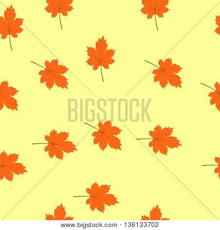 seamless texture of maple leaves on a light orange background. Perfect for wallpapers, wrapping papers, pattern fills, textile, autumn greeting cards, Thanksgiving Day cards
