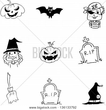 Element bat pumpkins broom Halloween doodle vector illustration
