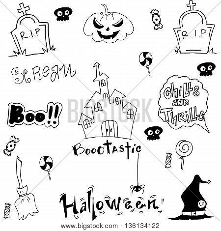 Halloween doodle vector art castle pumpkins illustration