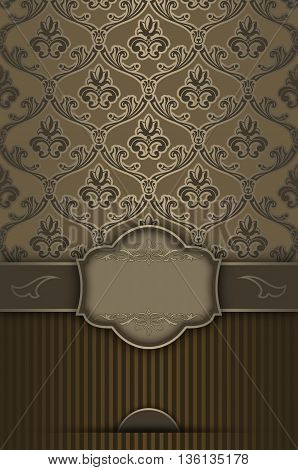 Luxurious vintage background with decorative borderframe and old-fashioned patterns.