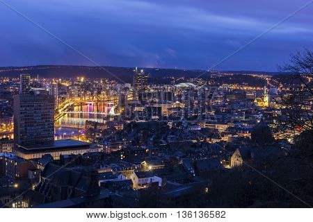Panorama of the city of Liege in Belgium