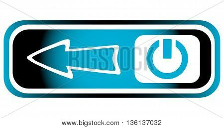 Long blue icon with inclusion symbol and arrow