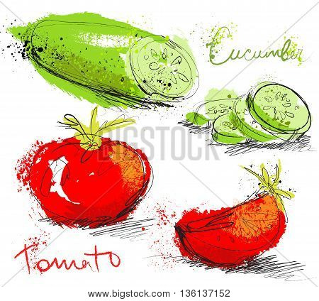 Cucumber and tomatoes slices isolated on white background, art hand draw style with ink texture poster