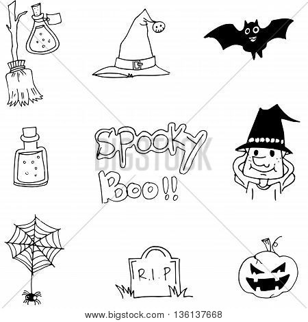Halloween hand draw doodle vector on white backgrounds