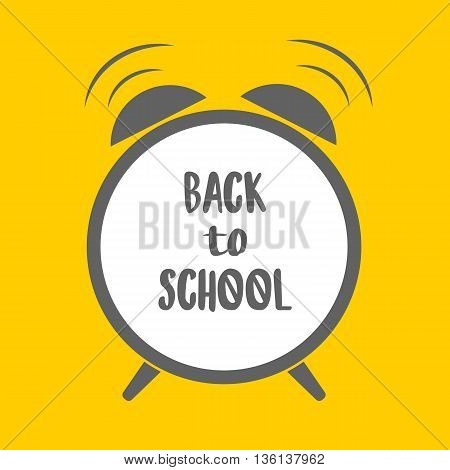Alarm cloack with text yellow background Back to school. Flat design. Vector illustration