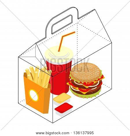 Fast Food Box. Packing For Breakfast. French Fries And Hamburger. Cheese Sauce And Ketchup. Drink In