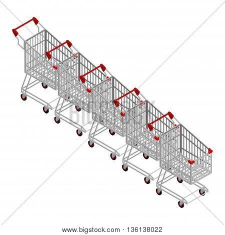Row Of Shopping Carts. Many Shopping Trolley Isometrics