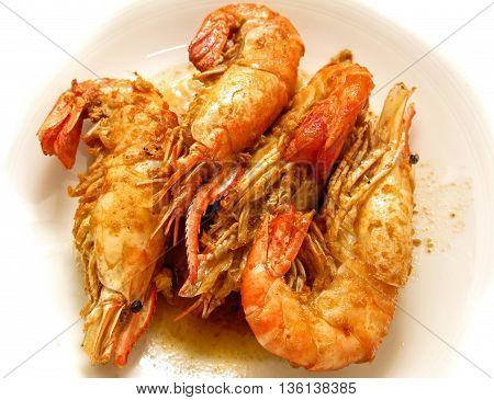 Shrimp fried salt thai cooking food style