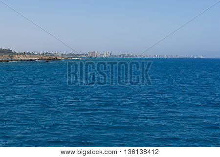 Ghost town famagusta, view from the sea, cyprus island.