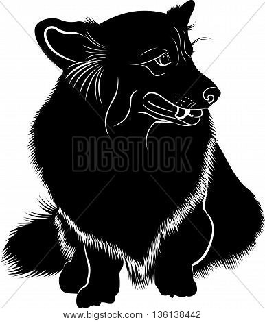 Cardigan Welsh Corgi. Welsh Corgi. Silhouette of a dog of breed Pembroke Welsh Corgi. Vector stylized line drawing of pembroke welsh corgi.
