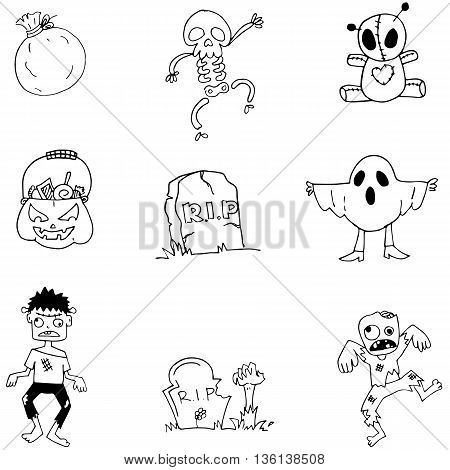 Character Halloween in doodle element vector illustration