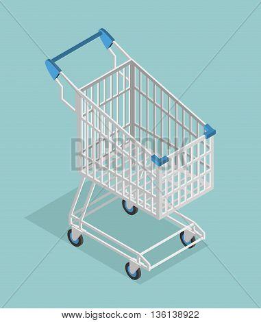 Shopping Cart Isometrics. Empty Supermarket Shopping Trolley Isolated.