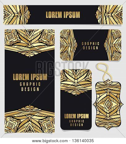 Set of printable cards with golden Aztec pattern. Tribal geometric pattern for corporate identity or fashion cards in gold gamut. Set of flyer or poster, business card, horizontal banner, tag. Vector illustration.