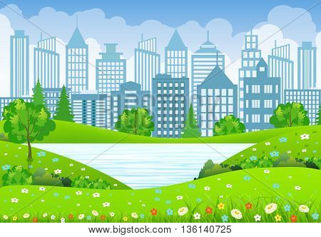 Green business City Landscape with tree lake and flowers. vector illustration in flat design