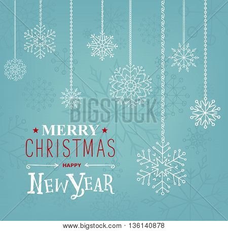 Merry Christmas and Happy new Year lettering design. Vector illustration. Season cards, greetings for social media.