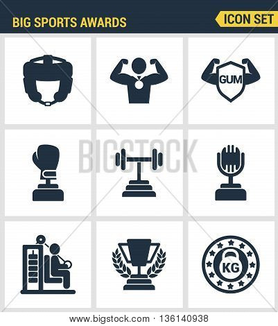 Icons set premium quality of big sports awards championship champ winner cup sport victory. Modern pictogram collection flat design style symbol collection. Isolated white background.
