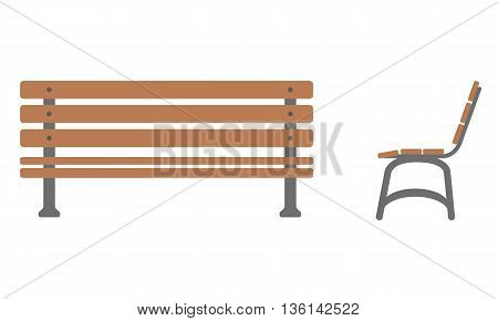 Outdoor Bench Icon with front and side view. Flat color style design. Isolated with solid color background