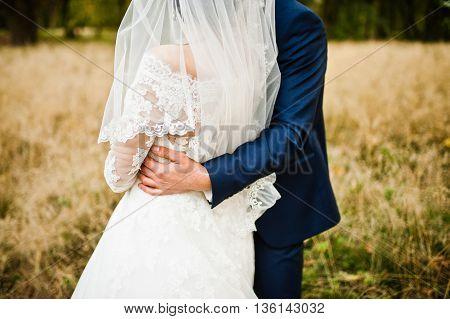 Hand In Hand Of Stylish Wedding Couple