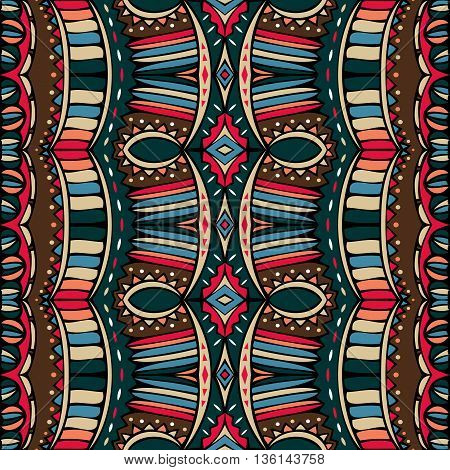 Vintage Boho style seamless ornament. Ethnic pattern. Retro colors. Abstract tribal repeatable background. Vector illustration.