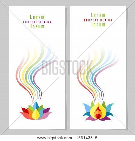 Rainbow Lotuses colorful cards or poster templates. Copy space. Vector illustration.