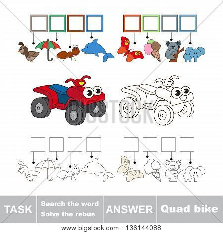 Vector rebus game for children. Easy educational kid game. Simple game level. Find solution and write the hidden word Quad Bike
