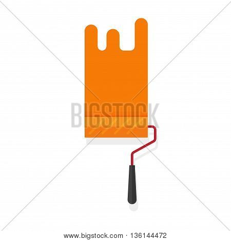 Paint roller with paint stroke vector isolated on white background, flat orange paintroller illustration