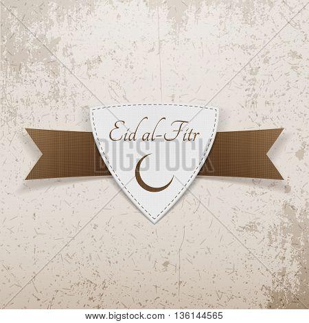 Eid al-Fitr muslim paper Emblem. Vector Illustration