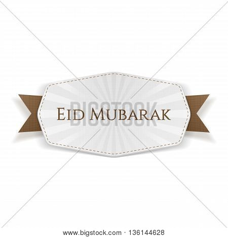 Eid Mubarak Banner with Ribbon. Vector Illustration