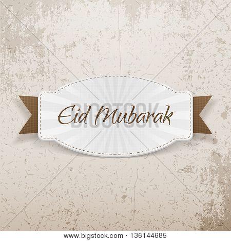 Eid Mubarak festive Badge with Ribbon. Vector Illustration