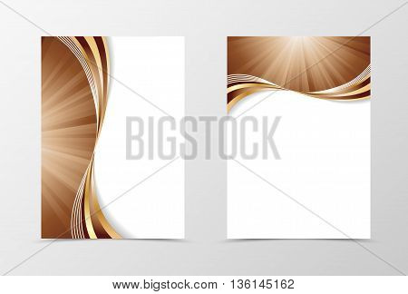 Flyer template swirl design. Abstract flyer template in coffee with milk colors with gold lines. Wave spectrum flyer design. Vector illustration