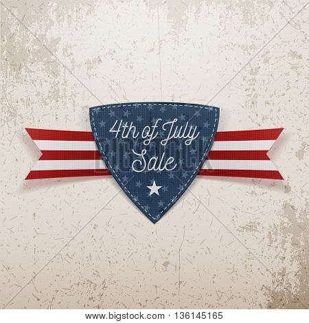 4th of July Sale Emblem with Ribbon. Vector Illustration