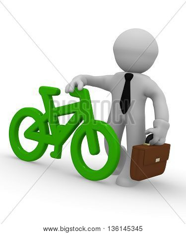 Businessman with a green bike icon on a white background 3d rendering