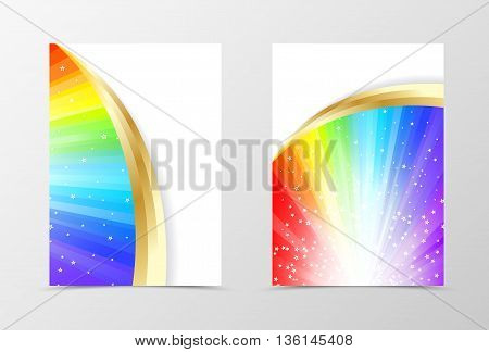 Rainbow flyer template design. Abstract flyer template in rainbow color with gold lines and white stars. Spectrum flyer design. Vector illustration