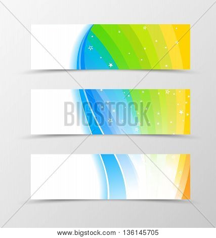 Set of banner rainbow design. Shiny banner for header in rainbow color with blue lines and white stars. Design of banner in wavy spectrum style. Vector illustration